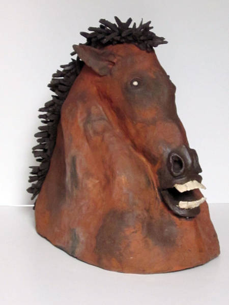 Fired Clay Wall Art - Sculpture - Horse by Andre Ferron