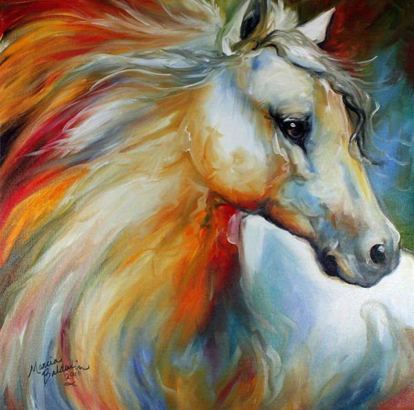 White Horse Painting - Horse Angel No 1 by Marcia Baldwin