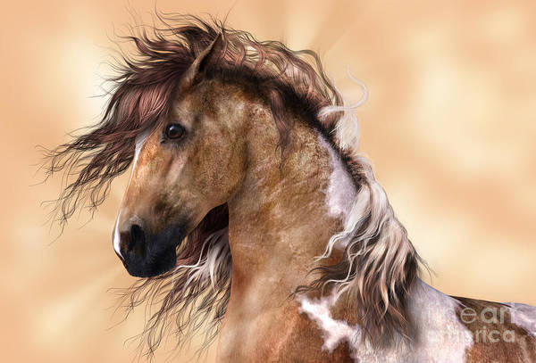 Digital Art - Horse Brown And White Paint by Elle Arden Walby