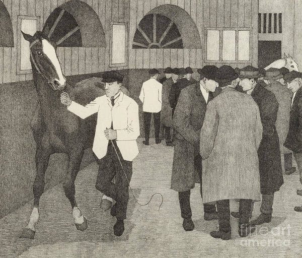Camden Town Drawing - Horse Dealers At The Barbican, 1921 by Robert Polhill Bevan