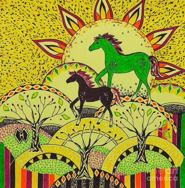 Semi Abstract Drawing - Horse Design Drawing No. 5 by Heather McFarlane-Watson