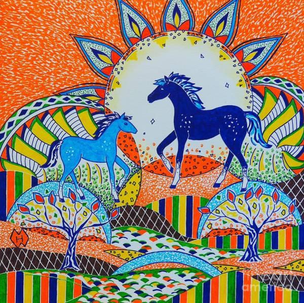 Semi Abstract Drawing - Horse Design Drawing No. 7 by Heather McFarlane-Watson