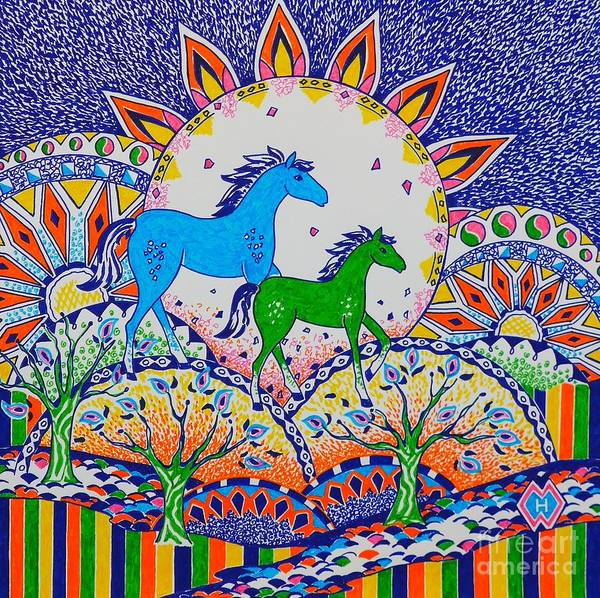 Semi Abstract Drawing - Horse Design Drawing No. 8 by Heather McFarlane-Watson