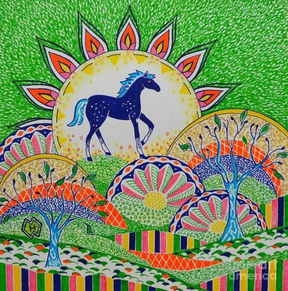 Semi Abstract Drawing - Horse Design Drawing No.1 by Heather McFarlane-Watson