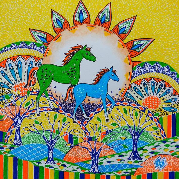Semi Abstract Drawing - Horse Design Drawing No.4 by Heather McFarlane-Watson