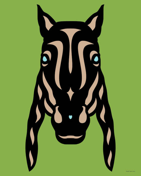 Digital Art - Horse Face Rick - Horse Pop Art - Greenery, Hazelnut, Island Paradise Blue by Manuel Sueess