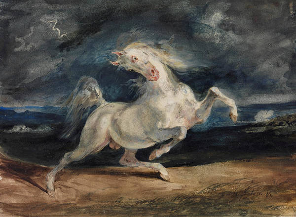 Wall Art - Painting - Horse Frightened By Lightning  by Eugene Delacroix