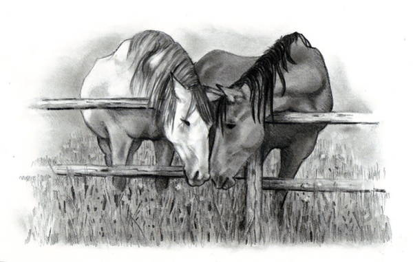 Wall Art - Drawing - Horse Lovers by Joyce Geleynse