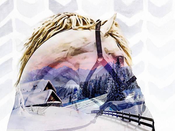 Snow Fence Digital Art - Twilight Horse by Photo Design AJ