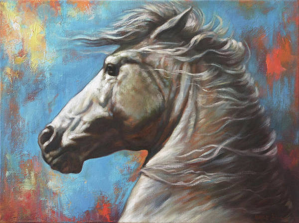 White Stallion Wall Art - Painting - Horse Power by Harvie Brown