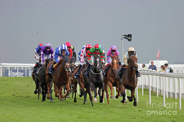 Photograph - Horse Racing At Epsom Downs Uk by Julia Gavin