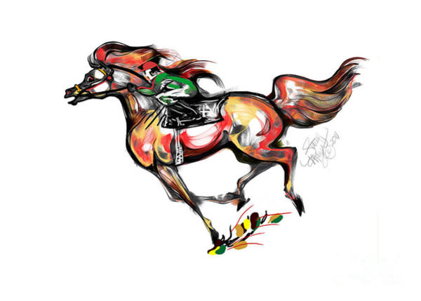 Mixed Media - Horse Racing In Fast Colors by Stacey Mayer