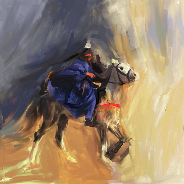 Wall Art - Painting - Horse Rider 674 1 by Mawra Tahreem