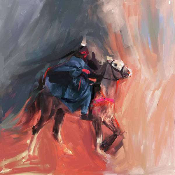 Wall Art - Painting - Horse Rider 674 2 by Mawra Tahreem