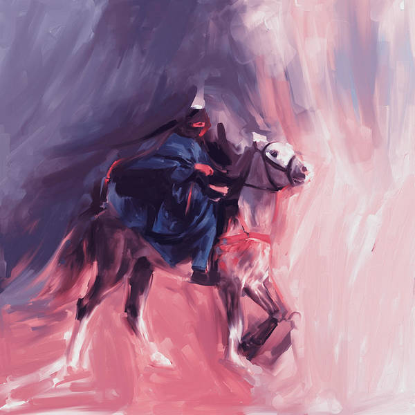 Wall Art - Painting - Horse Rider 674 3 by Mawra Tahreem