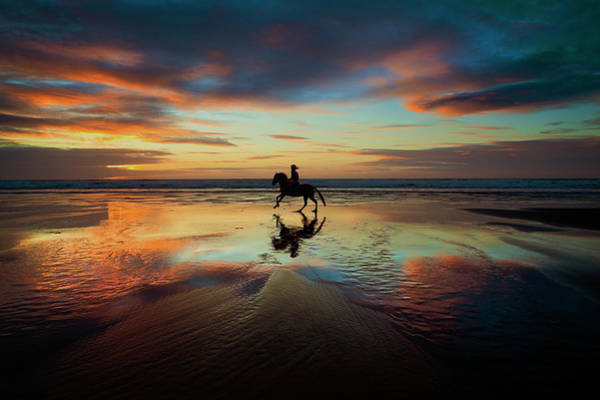 Photograph - Horse Rider Reflections At Widemouth Beach by Maggie McCall