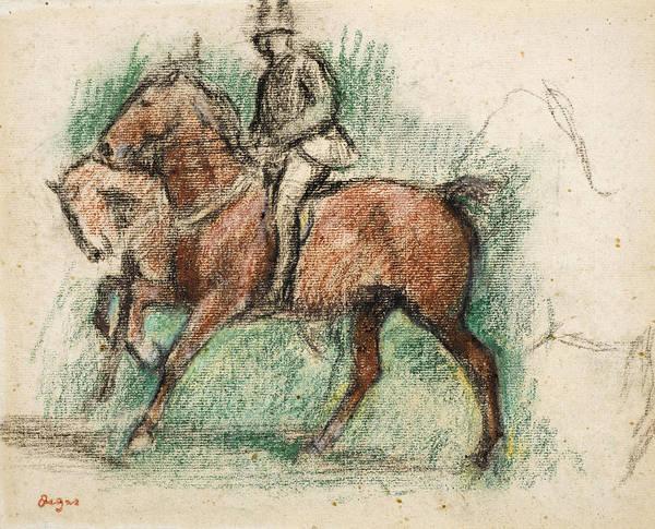 Wall Art - Drawing - Horse Riding by Edgar Degas