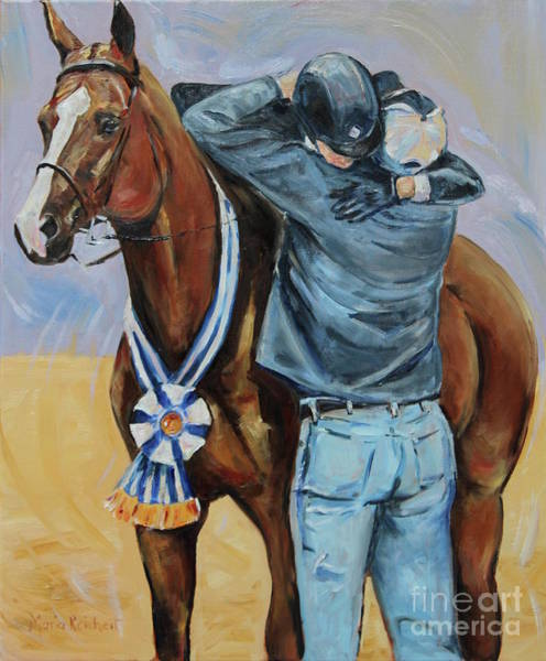 Aqha Painting - Horse Show Art, Equitation Champion by Maria's Watercolor
