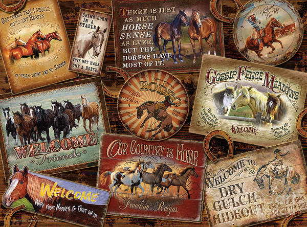 Painting - Horse Sign Collage by JQ Licensing