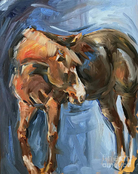 Aqha Painting - Horse Study In Oil  by Maria's Watercolor