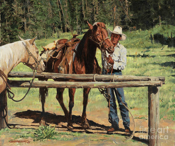 Wall Art - Painting - Horse Tied by Don Langeneckert