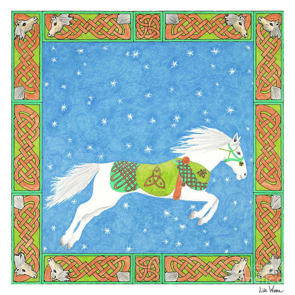 Drawing - Horse With Celtic Knots Saratoga Faire Cd Cover Illustration by Lise Winne