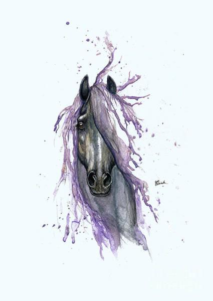 Wall Art - Painting - Horse With Purple Mane 2014  by Angel Ciesniarska