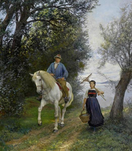 Horseman Wall Art - Painting - Horseman At A Lake by Rudolf Koller