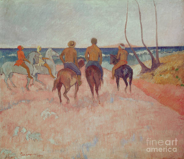 Horseman Wall Art - Painting - Horseman On The Beach by Paul Gauguin