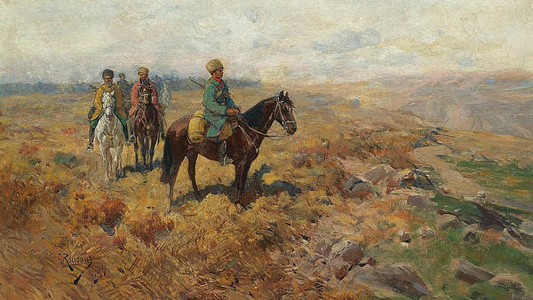 Painting - Horsemen In The Hills by Franz Roubaud