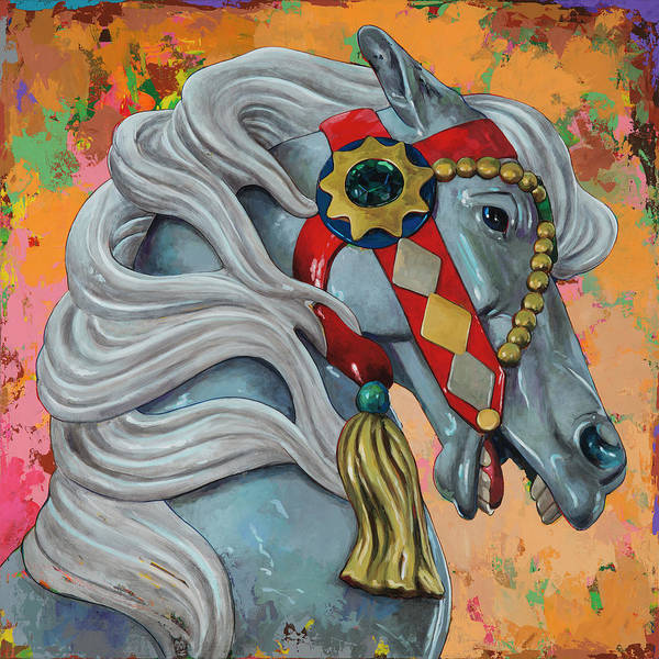 Merry Go Round Wall Art - Painting - Horses #6 by David Palmer