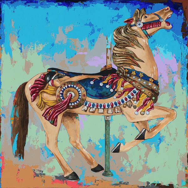 Round Wall Art - Painting - Horses #8 by David Palmer