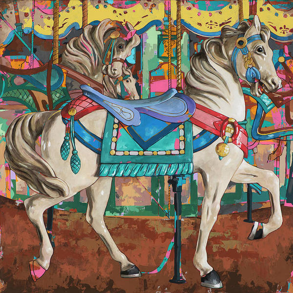 Merry Go Round Wall Art - Painting - Horses #9 by David Palmer