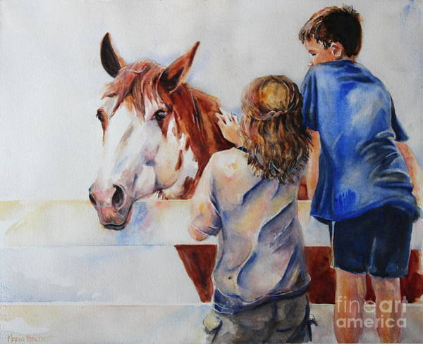 Aqha Painting - Horses And Children Painting by Maria's Watercolor