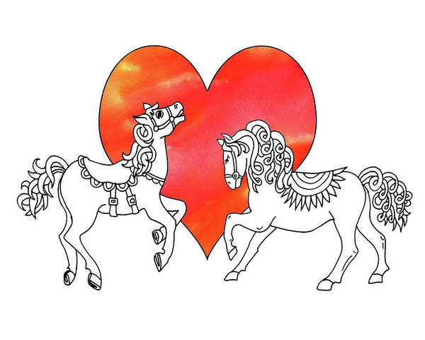 Painting - Horses And Heart Watercolor  by Irina Sztukowski