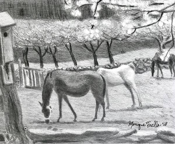 Horses And Trees In Bloom Art Print