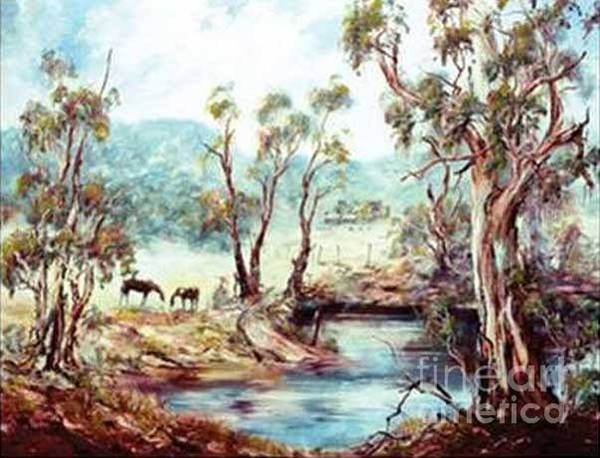 Painting - Horses At The Dam by Ryn Shell