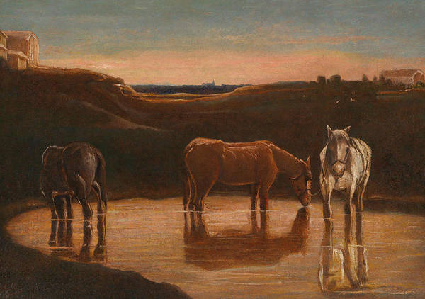 Painting - Horses At The Ford by Giovanni Segantini