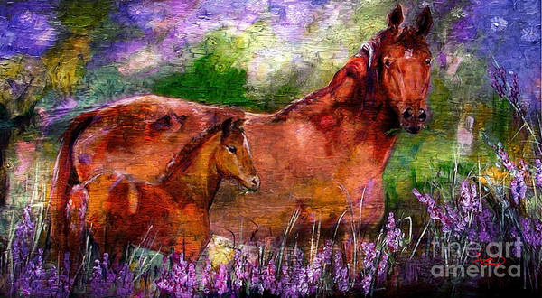 Painting - Horses Chestnut Mare And Foal by Ginette Callaway