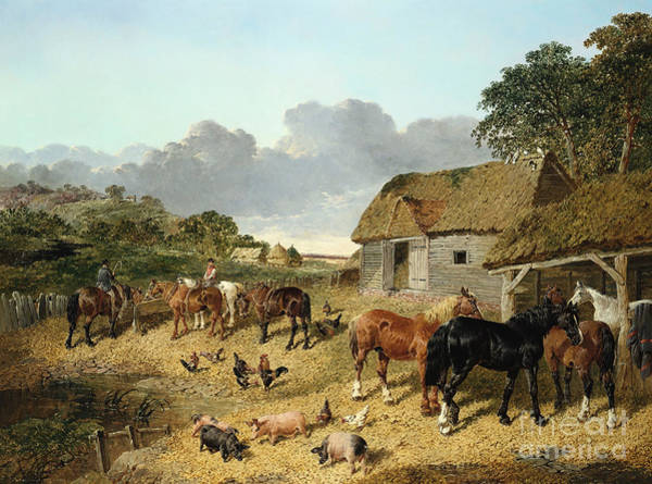 Barnyard Animal Painting - Horses Drinking From A Water Trough, With Pigs And Chickens In A Farmyard by John Frederick Herring Jr