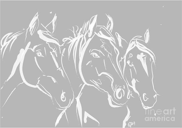 Painting - Horses Friends by Go Van Kampen
