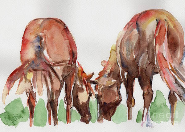 Aqha Painting - Horses Grazing by Maria's Watercolor