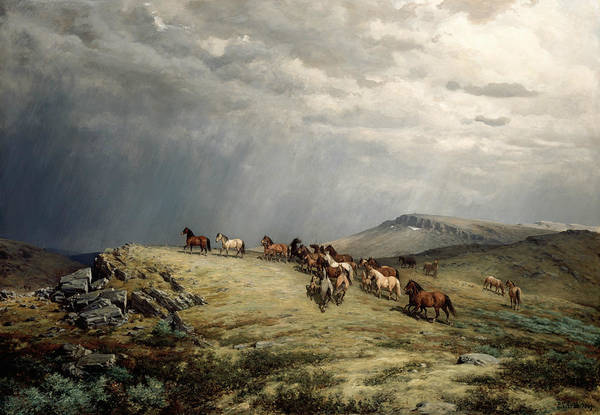 Painting - Horses In The Mountains by Peter Nicolai Arbo