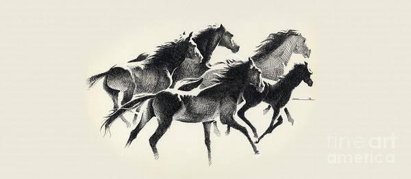 Digital Art - Horses Mug by Mamoun Sakkal