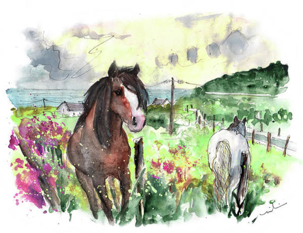 Painting - Horses On Llyn Peninsula In Wales by Miki De Goodaboom
