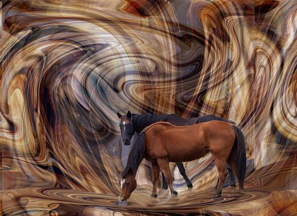Digital Art - Horses On Wednesday Swoop by rd Erickson