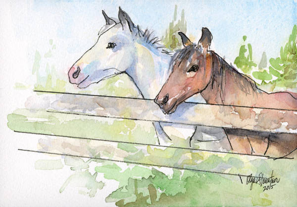 Horse Painting - Horses Watercolor Sketch by Olga Shvartsur