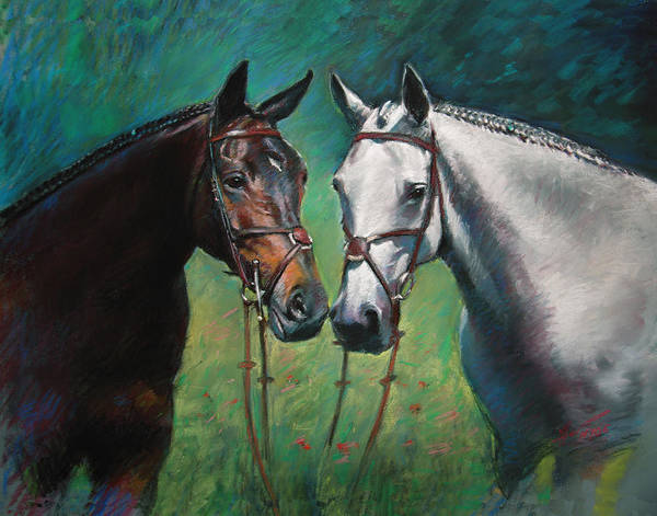 Brown Wall Art - Pastel - Horses by Ylli Haruni
