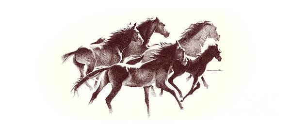 Digital Art - Horses2 Mug by Mamoun Sakkal