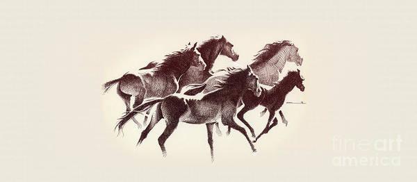Digital Art - Horses3 Mug by Mamoun Sakkal